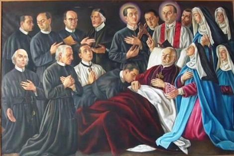 Morte di S. Alfonso – Santi, Beati, Venerabili redentorista e Monache redentorista di ogni tempo, raffigurati idealmente attorno a S. Alfonso morente per raccoglierne l'eredità spirituale.