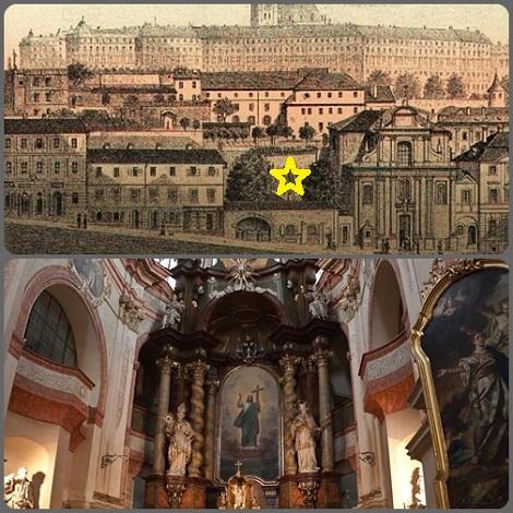 Praga. L'antica chiesa di San Gaetano ieri e oggi. È la chiesa dei Redentoristi e della Madonna del Perpetuo Soccorso.