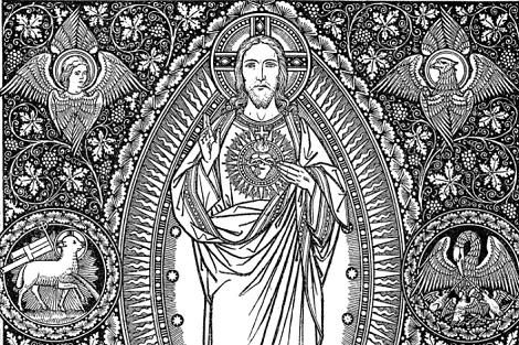 Incisione del Sacro Cuore, opera di Fr. Max Schmalzl: il P. xxx era assai devoto e scrisse un Triduum per la preparazione alla festa.