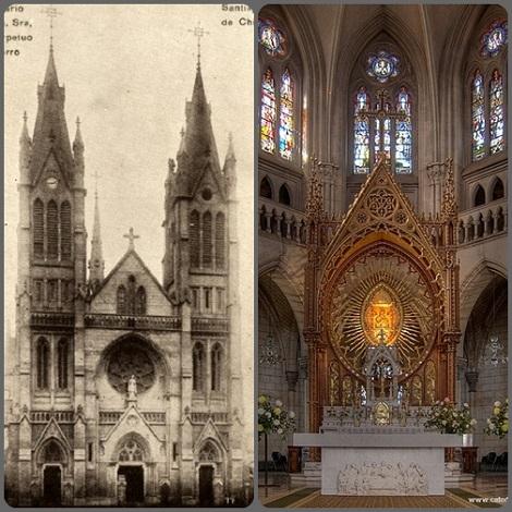 Santiago del Cile, chiesa della Madonna del Perpetuo Soccorso, progetto del fratello Gerardo Knockaert, ieri e oggi.
