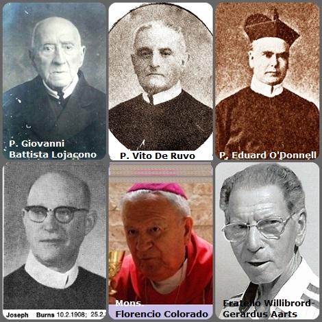 Tra i 38 defunti di oggi, 25 febbraio, di cui 3 italiani l'immagine mostra 6 Redentoristi: gli italiani: P. Giovanni Battista Lojacono (1838-1924) e P. Vito De Ruvo (1876-1952); l'irlandese P. Eduard O'Donnell (1825-1882); l'americanp P. Joseph Patrick Burns (1908-1977); Il peruviano Mons. Florencio Colorado (1908-2006), vescovo di Huancavelica (Perú) per quasi 30 anni, noto per le sue molte traduzioni, come la traduzione della Bibbia in lingua quechua e l'olandese Fratello Willibrord-Gerardus Aarts (1936-2007).