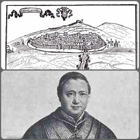 Antica cartina di San Giovanni Rotondo e uno dei suoi figli più illustri: Mons, Celestino M. Cocle, Rettore Maggiore dell'Istituto redentorista e Vescovo: tra i suoi Congregati ebbe anche un nipote, il P. Luici Cocle, morto a Caserta nel 1849.
