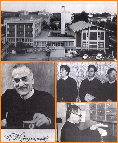 Tokyo 1983 - La Chiesa, la Casa redentorista e lo Studentato – Il P. L. Filippo Levesque della Provincia di S. Anna de Beaupré, fondatore della Missione del Giappone nel 1948. - Alcuni studenti redentoristi e Fr. Ignazio Minh.