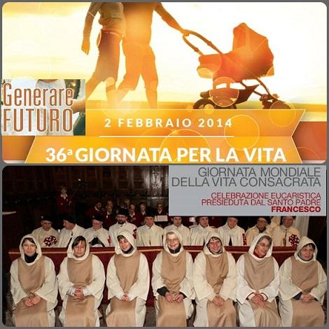 """Domenica 2 febbraio si celebrano due Giornate di portata mondiale: quella per la Vita """"Generare futuro"""", e quella della Vita Consacrata, che sarà come il preludio al prossimo Anno della Vita Consacrata 2015 indetto da Papa Francesco."""