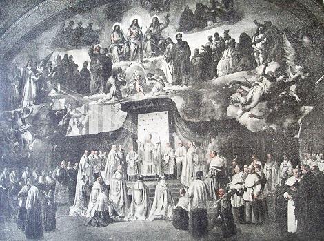 Roma 1854 – Pio IX proclama il dogma dell'Immacolata. I Redentoristi del tempo gioirono dell'evento attraverso questa riproduzione di una stampa dell'epoca. Il Beato Pio IX, morto il 7 febbraio 1878, fu grande amico e benefattore dell'Istituto: nel 1848 fu pellegrino alla tomba di S. Alfonso a Pagani.