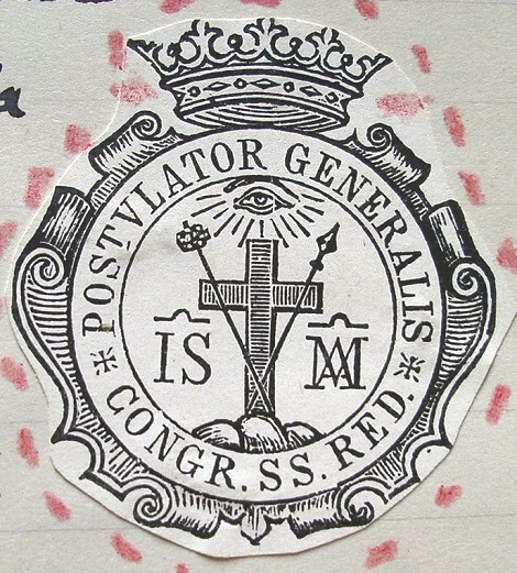 Sigillo del primo Postulatore Generale P. Giuseppe Cardone che ebbe l'incarico di portare avanti il processo di canonizzazione del Fondatore.