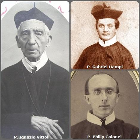 Tra i 32 defunti di oggi, 1 marzo, di cui 3 italiani due immagini mostrano 7 Redentoristi: Prima immagine 3 Redentoristi: l'italiano P. Ignazio Vittoli (1832-1916); e i tedeschi P. Gabriel Hampl (1814-1875) e P. Philip Colonel (1843-1925).