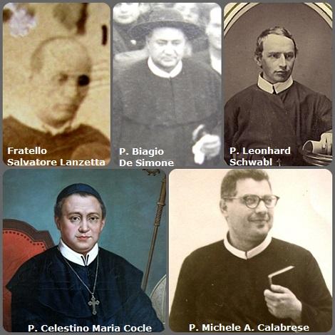 Tra i 42 defunti di oggi, 2 marzo, di cui 7 italiani due immagini mostrano 10 Redentoristi italiani. Prima immagine, 5 Redentoristi: gli italiani P. Celestino Maria Cocle (1783-1857) Rettore Maggiore e poi Vescovo; Fratello Salvatore Lanzetta (1818-1891); P. Biagio De Simone (1875-1956); P. Michele Angelo Calabrese (1914-1967); e l'austriaco P. Leonhard Schwabl (1844-1913)