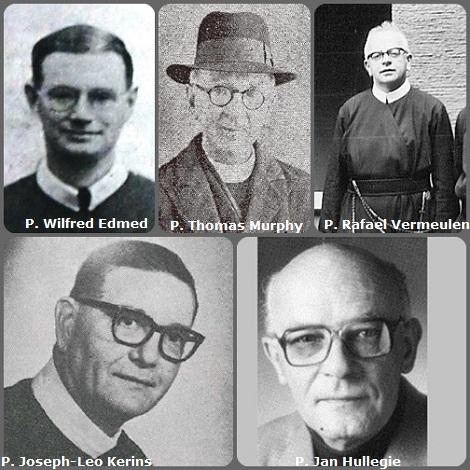 Seconda immagine, 5 Redentoristi: l'inglese P. Wilfred Edmed (1895-1937), l'irlandese P. Thomas Murphy (1878-1950); il belga P. Rafael Vermeulen (1920-1985); l'americano P. Joseph-Leo Kerins (1917-1994) e l'olandese P. Jan Hullegie (1928-1999).