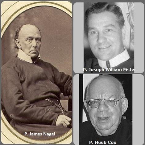 Tra i 34 defunti di oggi 28 maggio, di cui 1 italiano l'immagine mostra 3 Redentoristi: il bavarese P. James Nagel (1803-1890) trasferitosi negli USA, l'americano P. Joseph William Fister (1912-1993) e l'olandese P. Huub Cox (1933-2008).