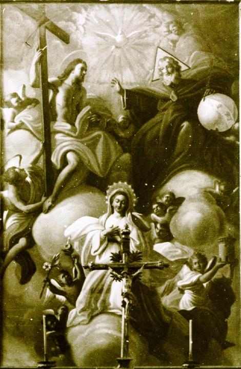 Ciorani (SA) - La SS. Trinità. primitiva tela dell'altare maggiore della chiesa redentorista, andata distrutta in un incendio. Il fratello Giovanni Saverio Grassi, nativo di Ariano Irpino (AV), trascorse ben 40 anni della sua vita religiosa a Ciorani, dove morì nel 1852.
