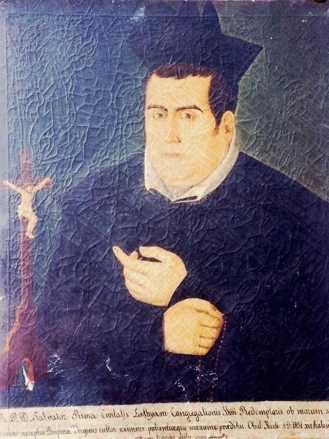 """P. Salvatore Prima, originario di Latiano (LE) in un ritratto che si conserva a Deliceto, nella chiesa di S. Antonio, che insieme al convento fu la seconda residenza redentorista in città: la prima era """"La Consolazione"""" che, però restava abbastanza distante dal centro abitato."""