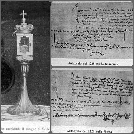Tra le fotografie presenti in questa annata del Periodico 1933 interessanti sono quella della teca che conserva il sangue del Santo Fondatore e quelle di due documenti inerenti agli ordini minori che il Santo doveva ricevere.