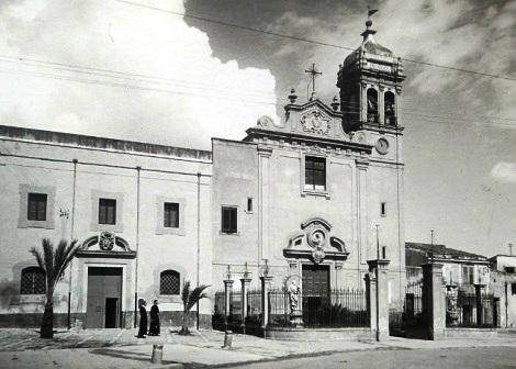 Palermo-Uditore. Antica foto della facciata della chiesa e della Casa dei Redentoristi. Qui morì nel 1855, colpito dal colera, il P. Ferdinando Guadagnini.