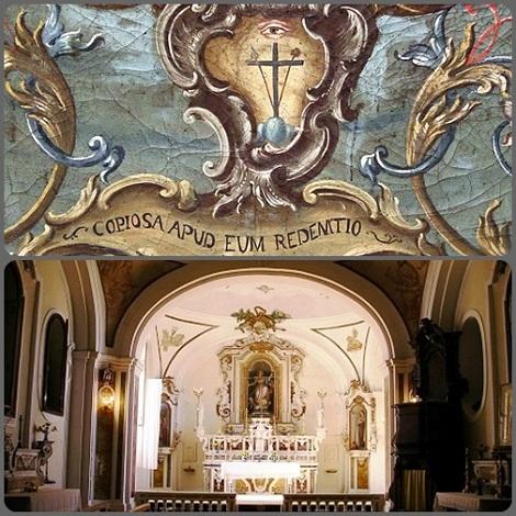 S. Angelo a Cupolo (BN) - La chiesa redentorista e lo stemma. Il P. Francesco Saverio Galeota abbellì la chiesa mentre era Superiore della Casa. Morì a Caserta nel 1855.