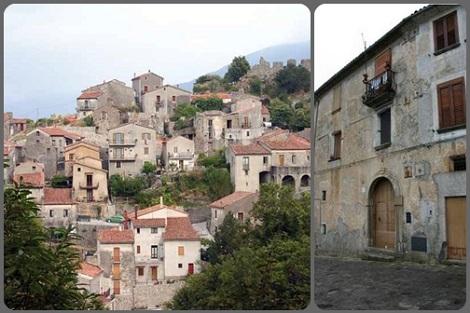 Trecchina (PZ) – Odierna vista panoramica con l'edificio che fu Mucipio. Qui nacque nel 1809 il redentorista P. Francesco Iannini, che morirà a Pagani nel 1855.