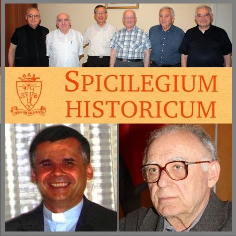 In basso P. Adam Owczarski, Direttore di redazione e il P. Emilio Lage, curatore degli Indici riportati in questa annata di Spicilegium - In alto alcuni storici redentoristi impegnati a scrivere attualmente  sulla preziosa Rivista Redentorista.