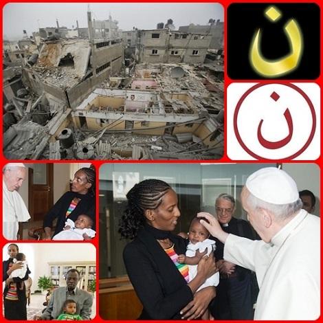 """Il martrio del mondo continua, anche se la fede è diversa: il martirio di Gaza e dei suoi abitanti che vedono le loro case distrutte; il martirio dei cristiani di Mosul, le cui case sono segnate a vista dalla lette araba N (Nazareno), per essere preda degli estremisti islamici; il martirio (ormai finito) di Meriam e della sua famiglia, che ha ricevuto la benedizione di Papa Francesco. Potrà vivere il mondo senza la """"necessità"""" del martirio?"""