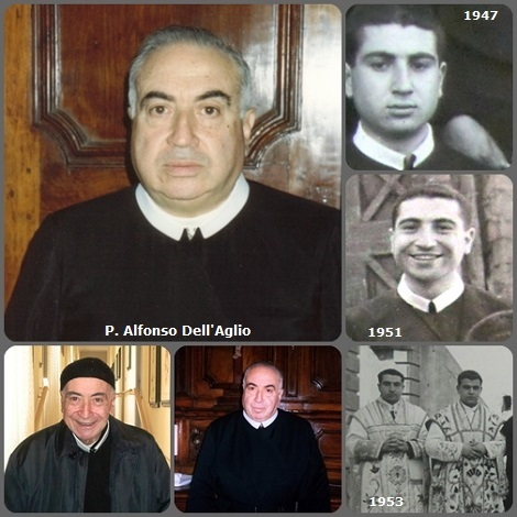 P. Alfonso Dell'Aglio in un collage di foto della sua vita: nel 1953 fu ordinato sacerdote insieme al compagno e confratello Arsenio Spinillo.