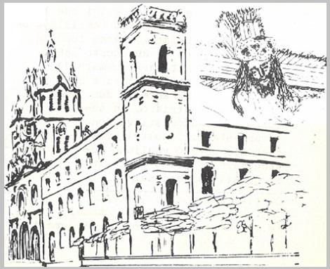 Buga (Colombia). Disegno del profilo della Casa e della Chiesa dedicata al Milagroso, il Signore dei miracoli. - Qui morì nel 1918 morì il P. Victor Plet.
