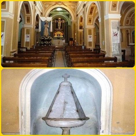Casanova di Carinola (CE)- La chiesa parrocchiale con l'antico fonte battesimale. Qui nacque e divenne sacerdote il futuro redentorista P. Domenico Centore.