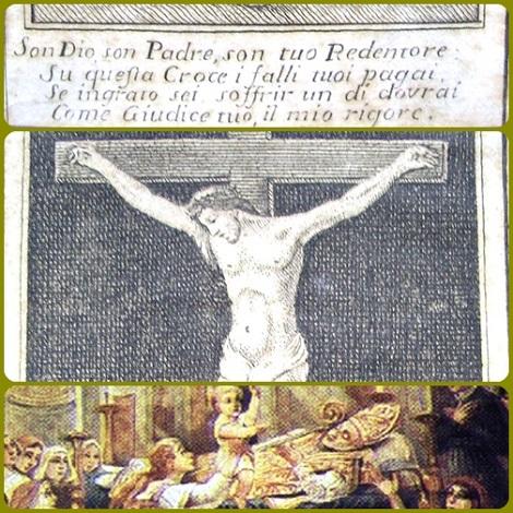 """L'immagine del crocifisso che il P. Domenico De Vivo antepose al libretto delle sue devote Canzoncine. – Una testimonianza vorrebbe che fosse lui il bambino a gridare """"Alfonso in cielo!"""": in realtà il piccolo si chiamava Alfonsino Fusco."""