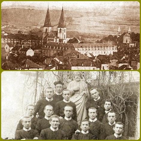 Echternach (Lussemburgo) - La Casa redentorista e un gruppo di studenti nel 1905 che Fratello Antoine Remmlinger servì fino alla morte avvenuta nel 1910.