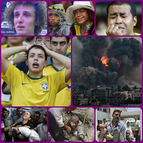 Lacrime nel Mondo oggi. Ci sono lacrime e lacrime... Anche se un popolo finisce col vivere una disfatta sportiva come una disfatta nazionale (come è successo per il Brasile ai Mondiali di calcio per il 7-1 subito dalla Germania, niente potrà essere accostato al dolore e alle lacrime di chi ha perso tutto, come sta succedendo a Gaza, Palestina.