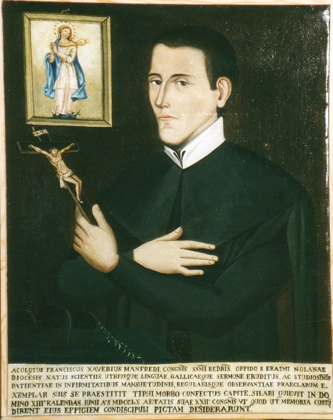Lo studente redentorista Francesco Manfredi morto all'età di 22 anni; era originario di S. Erasmo di Nola. Questo ritratto fu fatto per espresso desiderio dei suoi compagni di studentato e si conserva a Matedomini.
