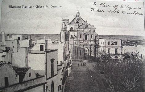 Martina Franca (TA) -  Chiesa e Convento carmelitani gestiti dai Redentoristi dal 1859 fino alla soppressione avvenuta nel 1866. P. Vincenzo Morelli vi morì da superiore, ma nella sua patria a Montecalvo Irpino nel 1869.