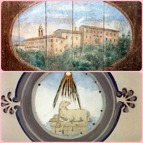 Scifelli (FR) - La Casa redentorista in un antico dipinto su tavola e l'affresco dell'agnello. Qui nacque nel 1878 il P. Emilio Carinci, che partirà missionario in Perù.