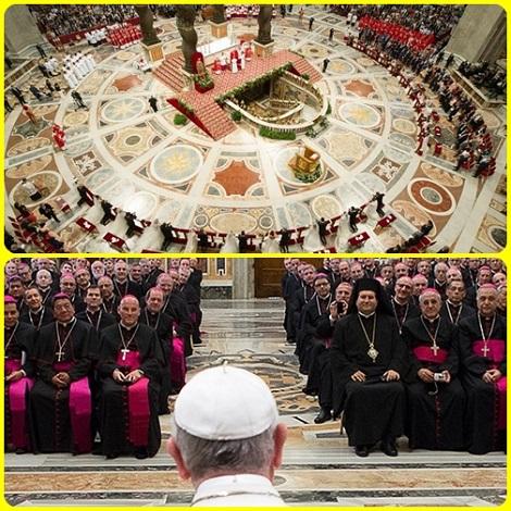La Chiesa con la guida di Papa Francesco è sempre in cammino per rinnovarsi ogni giorno, sia alla base (il Papa in San Pietro celebra il matrimonio di 20 coppie di sposi) e sia nella gerarchia (il Papa incontra i vescovi sui problemi attuali).