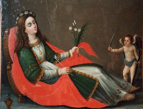 S. Filomena, tela nel museo alfonsiano in Pagani – Il P. Joele, originario di Cava dei Tirreni, fu molto devoto a questa santa, imitando altri confratelli che lo precedettero.