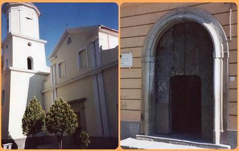 Vallo della Lucania (SA). La chiesa della Madonna delle Grazie e il portone d'ingresso alla casa redentorista, aperta dal 1820 al 1866. Qui fu rettore il P. Luigi Pane nel periodo del colera (1855).