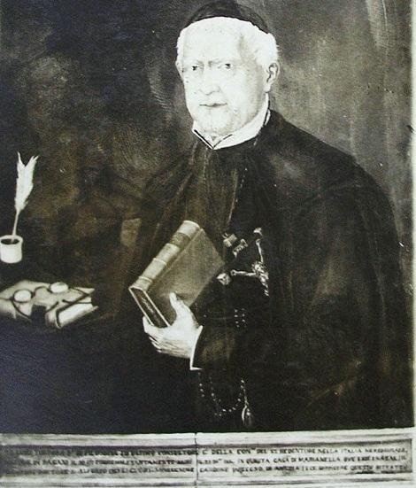 Ritratto del P. Luigi Tortora, nativo di Pagani (SA), che fu missionario zelante e predicatore attento: lasciò il suo patrimonio familiare alla Casa di Marianella, dove morì nel 1884.