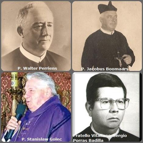 Tra i 36 defunti di oggi 25 novembre, di cui 1 italiano, l'immagine mostra 4 Redentoristi: gli olandesi P. Walter Perriens (1867-1935) e P. Jacobus Boomaars (1865-1941); il polacco P. Stanislaw Golec (1932-2009) il costaricano Fratello Vitaliano-Sergio Porras Badilla (1939-2012).
