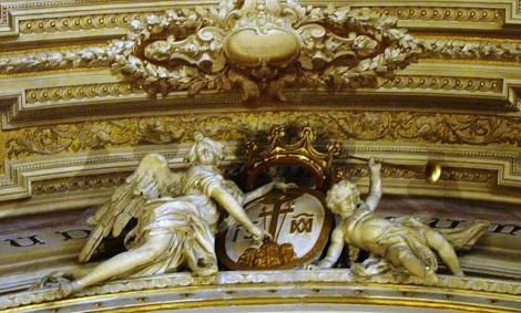 Stemma redentorista nella chiesa di S. Antonio a Tarsia a Napoli, dove il P. Giovanni Ferrara, originario di Casoria, visse gran parte della sua vita di religioso che consumò nel 1895.