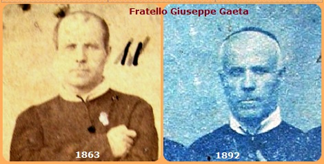 Due immagini di Fratello Giuseppe Gaeta, redentorista originario di Pellezzano (SA): a Tropea nel 1863, dove era insieme ai Padri espulsi da Catanzaro, e nel 1892 durante la missione di Valle di Pompei.