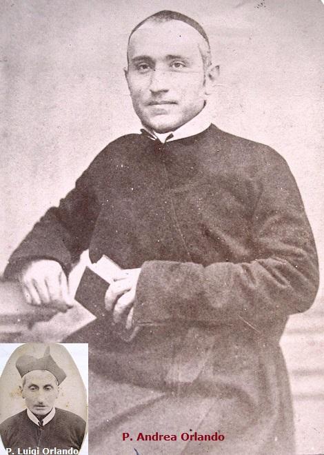 Ritratto fotografico del P. Andrea Orlando, redentorista originario di Torre Annunziata. Per molti anni fu educatore dei giovani studenti che si preparavano al sacerdozio. Morì nel 1896. Aveva un fratello redentorista, P. Luigi Orlando (nel riquadro)
