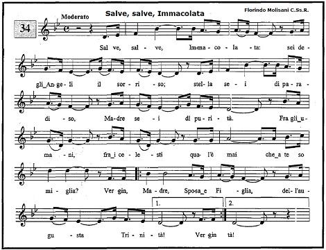 Il bel canto dedicato all'Immacolata dal redentorista P. Florindo Molisani nel 1854 a L'Aquila ed eseguito da 200 ragazze, in occasione del dogma mariano.