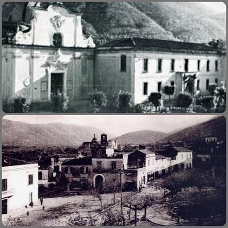 Due vedute di San Felice di Arienzo, patria del Fratello Angelo Antonio Cioffi: chiesa e convento dei Barnabiti e Piazza Valletta.