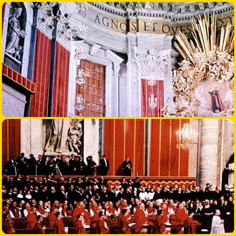 Il Beato Giovanni Nepomuceno Neumann nella gloria insieme al suo Padre Fondatore S. Alfonso M. de Liguori. – Vescovi e fedeli in ascolto del discorso del papa, oggi Beato, Paolo VI.
