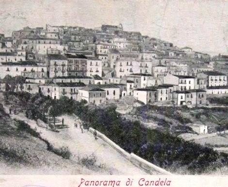 Antica veduta di Candela, in provincia di Foggia. Una località con abbondanti ricordi redentorista e gerardini e patria di alcuni Redentoristi. Qui nel 1887 morì il P. Luigi De Feo.