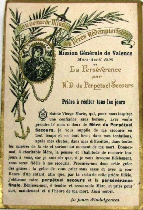 Ricordo della Missione Generale fatta a Valence del 1898. Il P. Paul Honoré, ardente missionario, vi era morto 10 anni prima.