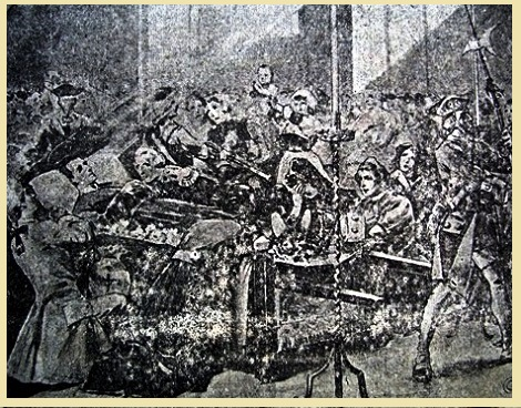 Antica stampa di San Gerardo morto esposto alla venerazione dei fedeli. Fratello Ciccio Alvino, grande devoto del Santo, a lui si raccomandò in una grave malattia e fu esaudito. Fratello Francesco Alvino morì a Pagani nel 1911, dopo aver trascorso oltre 40 anni a Materdomini.