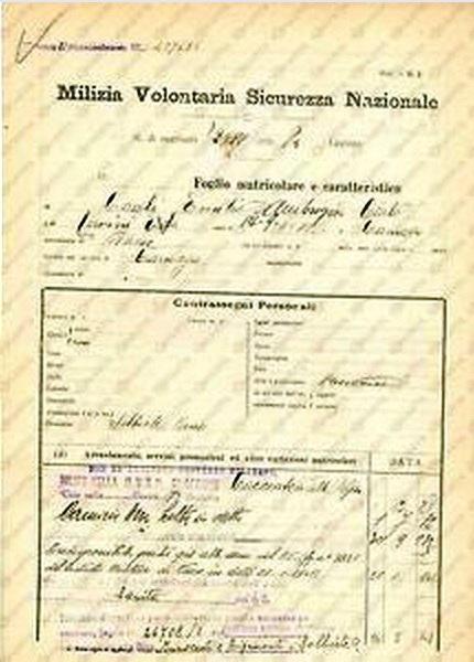 Agordo (Bl) 1916 – Foglio matricolare di militari. Il fratello Luciano D'Ermo morì ucciso in guerra nel 1915.