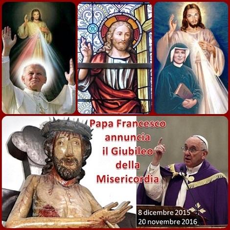 Domenica della Divina Misericordia  nel segno di Santa Faustina e San Giovanni Paolo II. -  Papa Francesco procla la Bolla di indizione del Giubileo straordinario della Misericordia