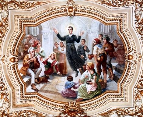 Materdomini (AV) – Basilica San Gerardo, Interno ante 1980 – La gloria di San Gerardo. – Il P. Giuseppe Castelli vi finì la sua tormentata esistenza nel 1936.