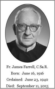 Il redentorista P. James Farrell, C.Ss.R. (1916-2013) della Provincia di Edmonton-Toronto in Canada.