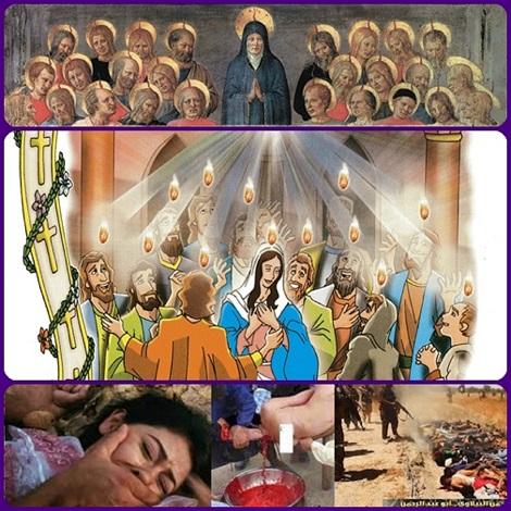 Spirito Santo, vieni col tuo santo fuoco e distruggi ogni malvagità nel cuore dell'uomo. Fa' che tutti possiamo vivere per Dio, che ci ha creati per la piena felicità. Fortifica i sofferenti e i perseguitati. Allontana il Maligno dalla nostra vita.